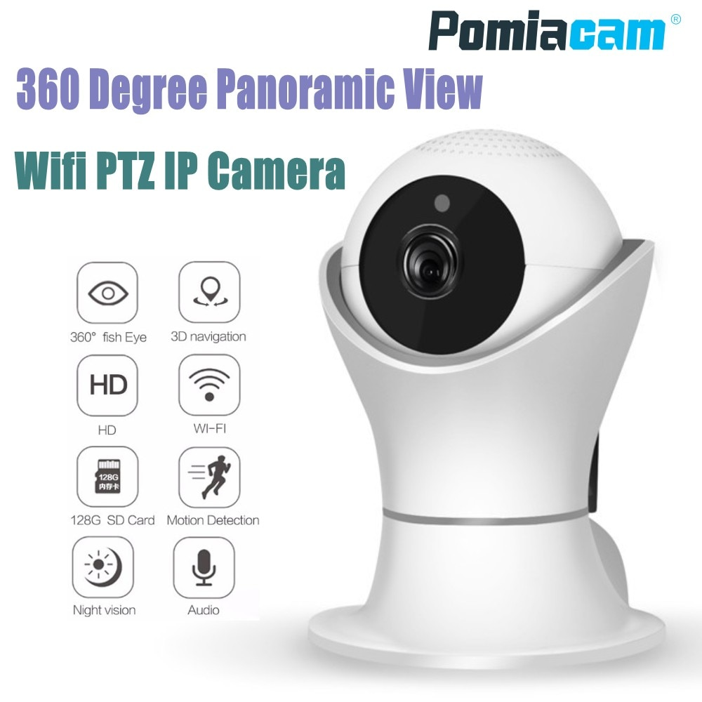 Video Surveillance 720p Wifi Panoramic Camera 360 Degree Fish-eye Smart Home Security Surveillance Baby Monitor Webcam Wireless Night Vision Camera